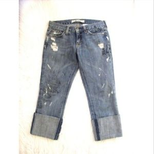 Gap Straight Boy Cut Distressed Jolly Roger Jeans